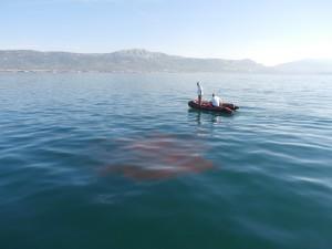 Testing the best way to do an underwater Rhodamine spill